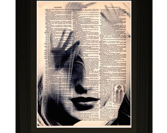 "Temptress''.Dictionary Art Print. Vintage Upcycled Antique Book Page. Fits 8""x10"" frame"