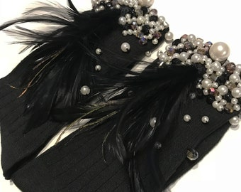 Socks with pearls and feathers