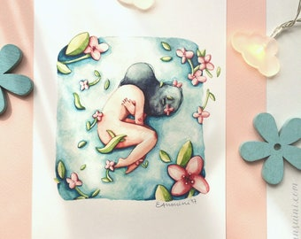 """Air, from watercolour series """"Floating girls"""""""