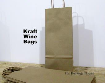 25 Kraft Wine Bags, Paper Wine Bags - Set of 25 Plain Kraft Paper Wine Bags
