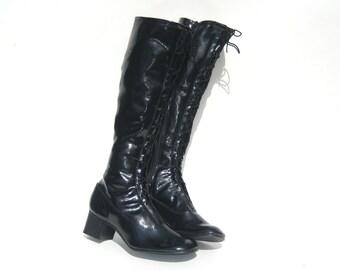 1960s black lace up go go boots - 60s lace-up boots - size 6 - go go boots  60s mod boots - gogo boots - 1960s boots - black vinyl boots
