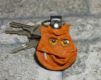 Monster Leather Key Chain Ring Fob Hand Made With Face Eye Key Purse Charm Harry Potter Labyrinth 331