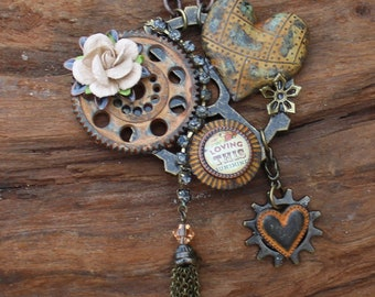 Steampunk Heart Necklace with Tassel