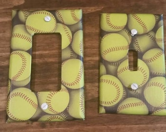 Softball Themed Switchplates, Softball Light Switch Cover, Fast Pitch Softball, Slow Pitch Softball, Softball Decor, Softball Lighting