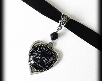 Ouija Planchette Choker Necklace, Occult Jewelry, Ouija Board Jewelry, Occult Gift, Black and White, Gothic Jewelry, Witch Jewelry, Pagan