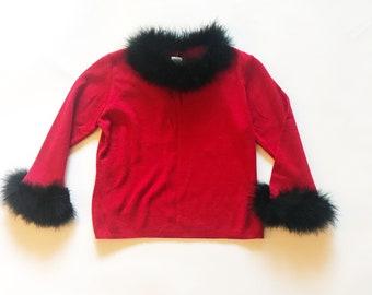 Vintage 90er Jahre rote Feder getrimmt beschnittenen Pullover S