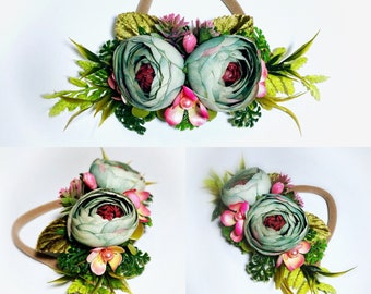 Blue flower headband, baby headband, flower girl headband, aqua flower headband, mint headband, eucalyptus headband, green flower headband