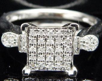 Solid 14K White Gold 0.25cttw H-I Round Brilliant Diamond Engagement Ring Sz 7; sku # 2224