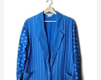 ON SALE Vintage Blue Stripe/Polka dots  Slouchy Blazer/Cardigan from 1980's*
