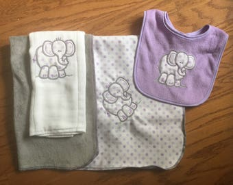 Embroidered blanket burp cloth's and bib