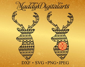 Aztec Christmas Patterned deer heads SVG, Dxf,svg ,jpg,Png cutting files, for use with Silhouette Studio. Deer svg, Hunting svg file