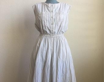 Vintage Banana Republic elastic waist striped dress
