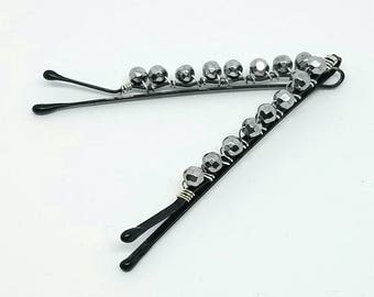 Cute Decorative Hair Pins with Wire Wrapped Silver-coated Hematite Faceted Rounds