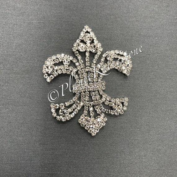 Silver Fleur De Lis Rhinestone Applique #AS-14