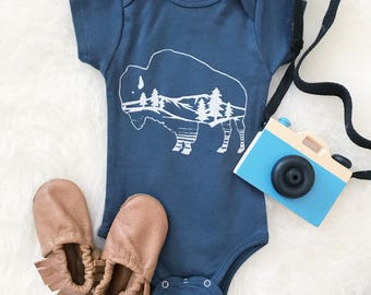 Bohemian Babies///Buffalo bodysuit or tee//Screen printed kids buffalo tee//Blue baffalo bodysuit//Unisex baby tee//Made to order