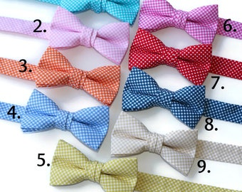 Boys Mini Check Bow Ties~Boys Bow Tie~Boys Plaid Bow Ties~Cotton Bow Tie~Navy Bow Tie~Church Tie~Plaid Bow Tie~Wedding~Ring Bearer~Gift