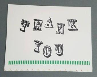 Thank You Card Black White Green & Pink Greeting Card
