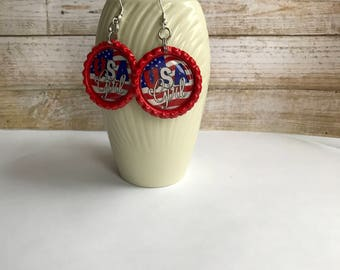 American Flag Earrings, Red White and Blue Earrings, 4th of July Earrings, Americana Earrings, USA Flag Accessory, Fireworks Accessory