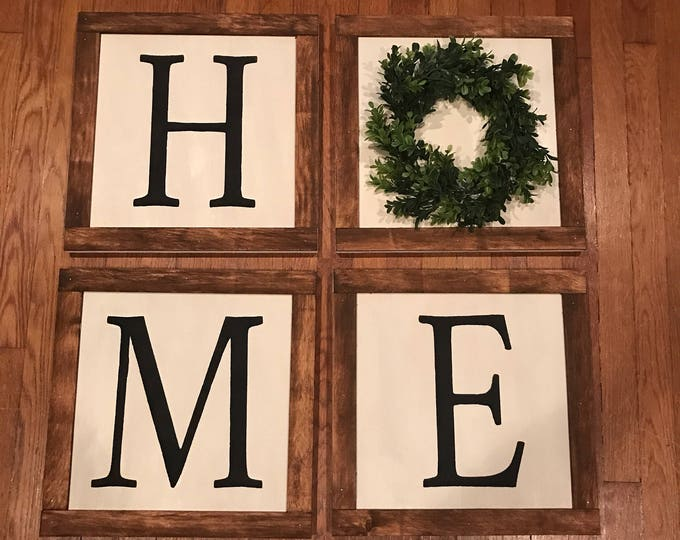 Home Boxwood Tile Block Boxwood Wreath Home Framed Wood Sign