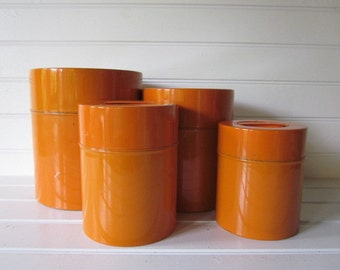 Set of Four Orange Nesting Kitchen Canisters