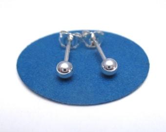 Small Silver Dot Stud Earrings, Silver Ball Studs, 3 mm Stud Earrings, 4mm Ball Studs