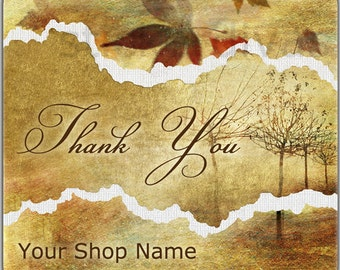 Custom Autumn Mist Etsy Shop Thank You or Product Labels Glossy
