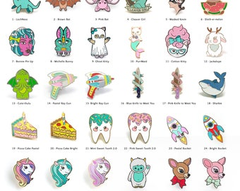 Pick 3 Enamel Pins - Collectable Enamel Pin Cloisonné Lapel Pin Badge Kawaii Pin Brooch Lapel Pins Hard Enamel Pin