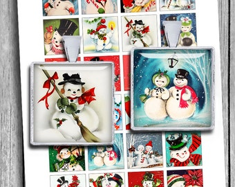 "Retro Snowman 1x1"" 0.75x0.83"" 1.5x1.5"" images for Jewelry Scrabble tile images Printable Digital Collage Sheet - Instant Download"