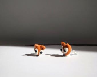 Pair Fox earrings