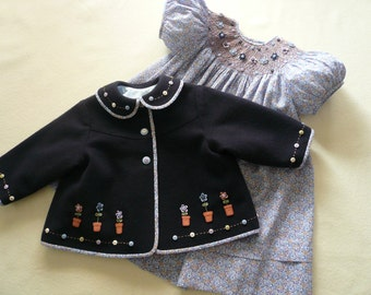Daisy Mae (navy) - Embroidered Wool Swing Jacket amd Smocked Bishop Style Dress