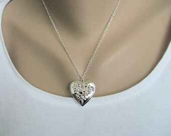 Heart Locket Necklace, Keepsake Jewelry, Silver Photo Locket, Romantic Jewelry, Gift for Mother, Wife, Girlfriend