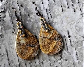Beaded Statement Earrings - Bead Weaving Jewelry - Large Tear Drop Dangles - Picture Jasper Slices - BOHO