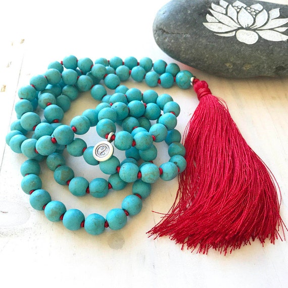 New Beginnings Mala Beads, Howlite 108 Bead Mala Necklace, Yin Yang Charm Mala, Vibrant Energy Mala Beads, Yoga Style Jewelry