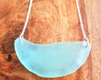 Large Aqua Sea Glass Bib Necklace