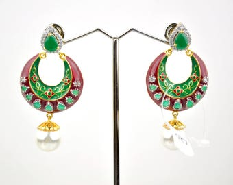 SALE 50% OFF Antique Indian earrings with enamel work| Indian Jewelry | Indian Earrings | indian jhumkas