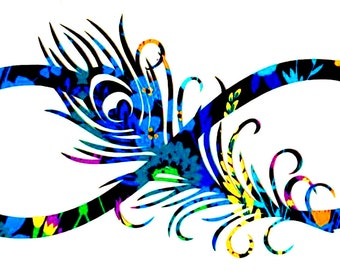 Infinity Peacock Feather Vinyl Decal Sticker - Water Bottle Sticker -  Laptop Decal - Tumbler - Bumper - You Choose Size and Color