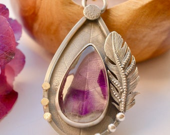 Chevron Amethyst Necklace, Silver Feather, Leaf Printed Jewelry, Oxidized Silver, Metalwork, Modern Rustic, Nature Inspired