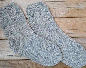 Hand Knitted Wool Socks -Wool Socks for Women - Size Medium,Large-US W9/EU40