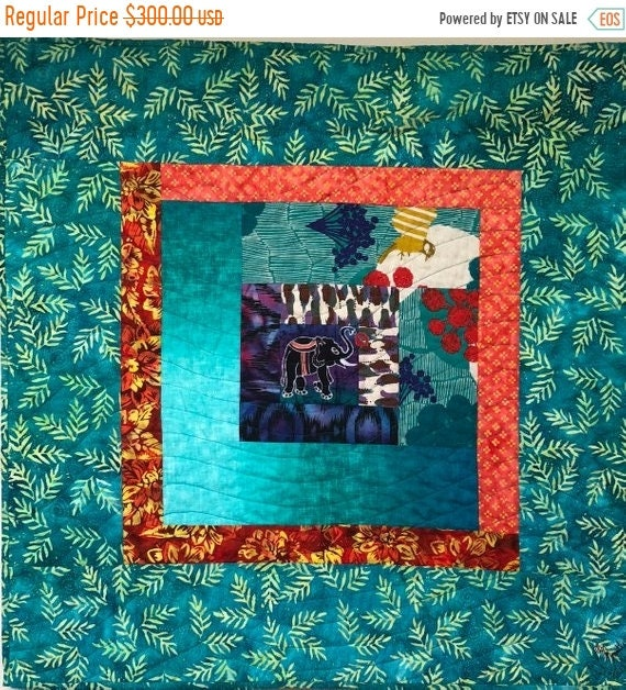 Hot Summer Sale Kissed by an Elephant #3 31x31 inch art quilt