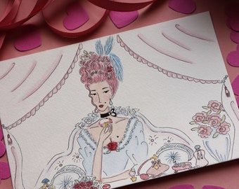 original watercolor - romantic wallart - rococo illustration - vintage art - marie antoinette style - boudoir painting - artwork for bedroom