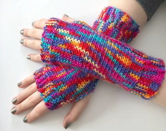 Knit Fingerless Gloves, Knit Arm Warmers, Bright Gloves, Mittens, Wrist Warmers