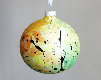 Hand Painted Bauble // Christmas Decoration // Yellow, Orange and Pale Green // God Colours Collection 025 // Ceramic Ornament