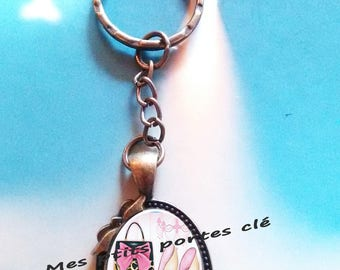 Key ring with cabochon glass 25 x 18 mm Fashion