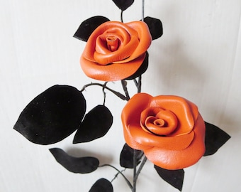 New  Orange  Leather Rose, Wedding 3rd Anniversary Gift Long Stem Flower Valentines Day