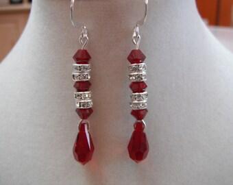 Red Briolette Swarovski Earring