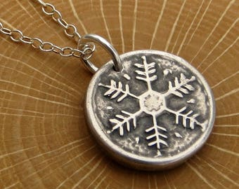 Snowflake Necklace Fine Silver Jewelry Petite Necklace  Rustic Snowflake Gifts for Her Under 30
