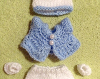 """Hand Knitted Dolls Clothes for 3,5-4""""  OOAK  Doll (# 75)"""