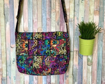 Patchwork messenger bag -  Bohemian crossbody bag -  Tribal fabric handbag