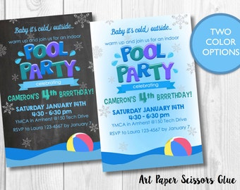 Indoor Pool Party Birthday Invitation / Winter Pool Party / Digital Invite/ Custom Invitation