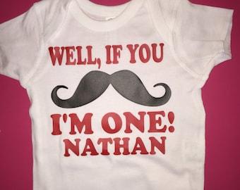 If you mustache I am one mustache birthday shirt birthday boy